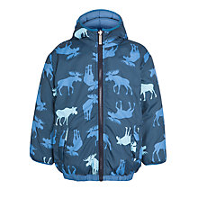 Buy Hatley Boys' Reversible Moose Print Puffa Coat, Navy Online at johnlewis.com