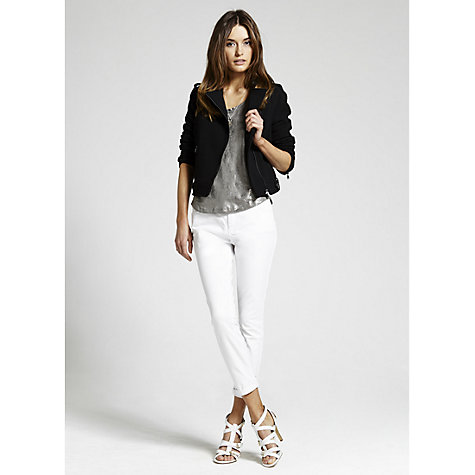 Buy Mint Velvet Black Boxy Biker Jacket, Black Online at johnlewis.com