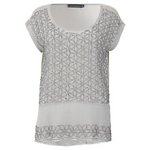 Buy Mint Velvet Beaded Layer Top, Pale Pink Online at johnlewis.com
