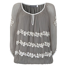Buy Mint Velvet Embroidered Blouse, Green Online at johnlewis.com
