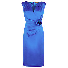 Buy Alexon Sateen Rosette Dress, Electric Blue Online at johnlewis.com
