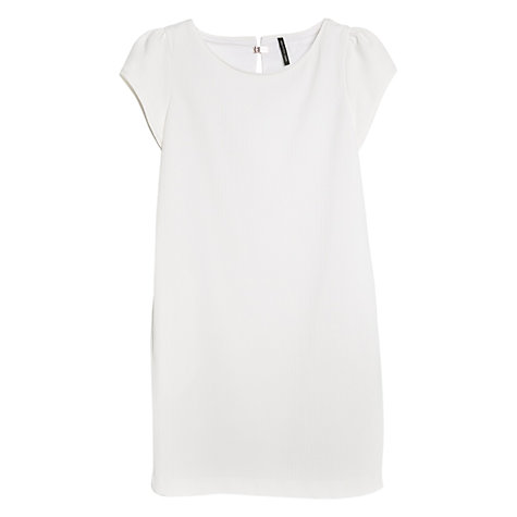 Buy Mango Textured Cotton Dress, Natural White Online at johnlewis.com
