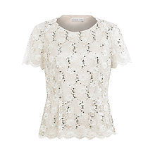 Buy Jacques Vert Sequined Lace Top, Light Pink Online at johnlewis.com