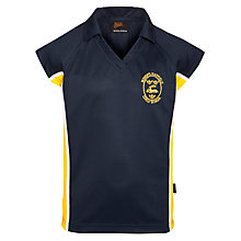 Buy Bishop's Hatfield School Sports Polo Shirt, Navy/Yellow Online at johnlewis.com