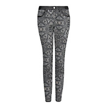 Buy Mango Slim-Fit Baroque Print Trousers, Black Online at johnlewis.com