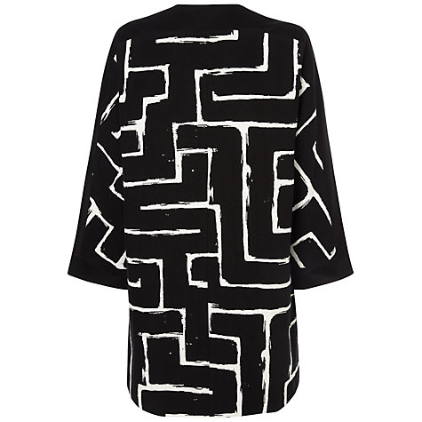 Buy Jaeger Zig Zag Coat, Black / Ivory Online at johnlewis.com