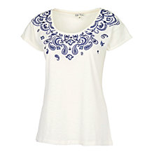 Buy Fat Face Paisley Placement T-Shirt, Ivory Online at johnlewis.com