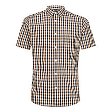 Buy Aquascutum Short Sleeve Check Shirt, Brown Online at johnlewis.com