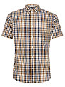 Aquascutum Short Sleeve Check Shirt, Brown