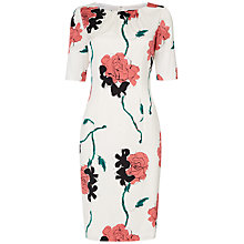Buy Jaeger Rose Print Dress, White / Pink Online at johnlewis.com