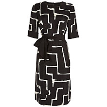 Buy Jaeger Silk Zig Zag Dress, Black / Ivory Online at johnlewis.com