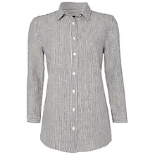 Buy Jaeger Linen Stripe Shirt, White / Navy Online at johnlewis.com