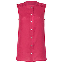 Buy Jaeger Sleeveless Linen Pintuck Shirt, Raspberry Online at johnlewis.com