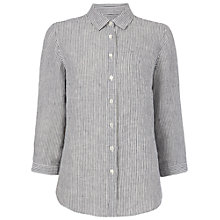 Buy Jaeger Stripe Linen Kimono Blouse, Ivory / Navy Online at johnlewis.com