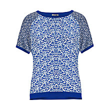 Buy Jigsaw Riverbank Silk Front Sweater, Blue Online at johnlewis.com