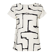 Buy Jaeger Zig Zag Print Top, Ivory / Black Online at johnlewis.com