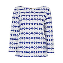 Buy Boutique by Jaeger Stripe Flower Breton T-Shirt, White / Blue Online at johnlewis.com
