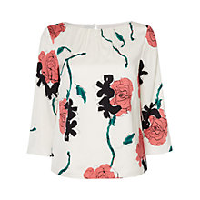 Buy Jaeger Rose Print Blouse, White / Pink Online at johnlewis.com