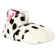 Buy John Lewis Children's Faux Fur Dalmatian Paw Slippers, White/Black Online at johnlewis.com