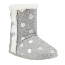 Buy John Lewis Metallic Dot Jersey Slippers, Grey Online at johnlewis.com