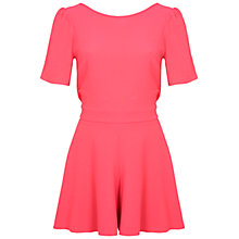 Buy Miss Selfridge Cross Back Crepe Playsuit, Pink Online at johnlewis.com