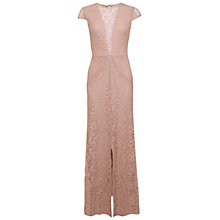Buy Miss Selfridge Foiled Lace Maxi Dress, Pink Online at johnlewis.com
