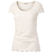 Buy Fat Face Bosham Crochet T-Shirt, White Online at johnlewis.com