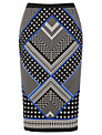 Oasis Scarf Print Pencil Skirt, Multi