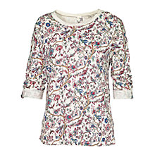Buy Fat Face Button Back Garden Floral Top, Ivory Online at johnlewis.com