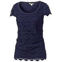 Buy Fat Face Bosham Crochet T-Shirt, Navy Online at johnlewis.com