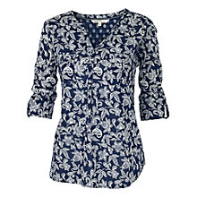 Buy Fat Face Mollie Ethnic Patchwork Popover Blouse, Navy Online at johnlewis.com