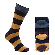 Buy John Lewis Stripe Ribbed Socks, Pack of 3 Online at johnlewis.com