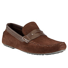 Buy BOSS Rellino Suede Driving Shoes, Dark Brown Online at johnlewis.com