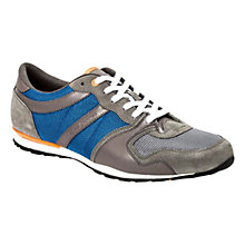 Buy BOSS Orlisten Suede and Fabric Trainers, Blue/Grey Online at johnlewis.com