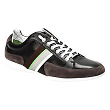 Buy BOSS Space Lea Suede Trainers, Black Online at johnlewis.com