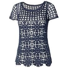 Buy Fat Face Sadie Crochet 2 in 1 Jumper, Navy Online at johnlewis.com
