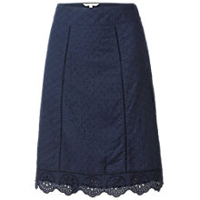 Buy Fat Face Claire Panelled Broderie Skirt, Navy Online at johnlewis.com