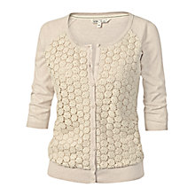 Buy Fat Face Lace Front Cardigan, Ivory Online at johnlewis.com