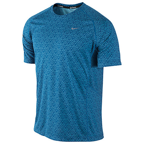 Buy Nike Miler Printed Crew Neck T-Shirt, Blue Online at johnlewis.com