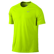 Buy Nike Miler Crew Neck Short Sleeve T-Shirt, Volt Online at johnlewis.com