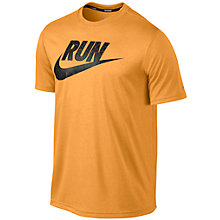 Buy Nike Legend Run Short Sleeve Swoosh T-Shirt, Blue Online at johnlewis.com