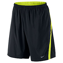 "Buy Nike 9"" Distance Shorts, Black/Yellow Online at johnlewis.com"