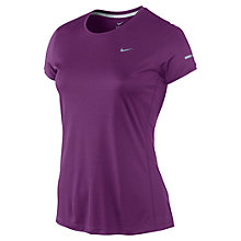 Buy Nike Miler Crew Neck T-Shirt, Berry Online at johnlewis.com