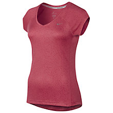 Buy Nike Miler Printed V-Neck T-Shirt, Pink Online at johnlewis.com