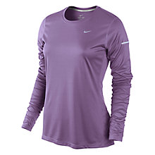 Buy Nike Miler Crew Neck Long Sleeve Top, Purple Online at johnlewis.com