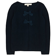 Buy Jigsaw Junior Girls' Ribbed Cardigan with Bows, Navy Online at johnlewis.com