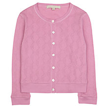 Buy Jigsaw Junior Girls' Geometric Pointelle Cardigan, Pink Online at johnlewis.com