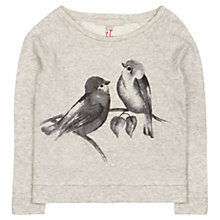 Buy Jigsaw Junior Girls' Lovebird Print Sweatshirt, Grey Online at johnlewis.com