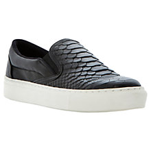 Buy Dune Lutney Textured Slip on Vulcanised Toe Shoes, Black Online at johnlewis.com