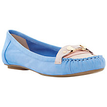 Buy Dune Lancelot Leather Moccasins, Pale Blue Online at johnlewis.com